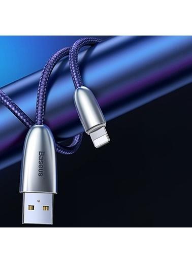 Baseus Torch Series Çinko Iphone Led Işıklı Şarj Kablosu-Mavi-Calhj-D15 Renkli